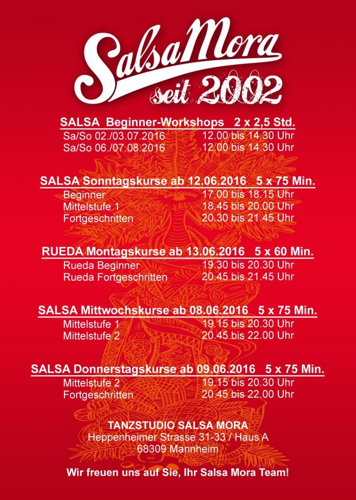 Flyer Kurse, Salsa Mannheim, Salsa Tanzkurse in Mannheim,